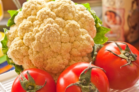 Cauliflower  and tomato in the kitchen Stock Photo - 9702682
