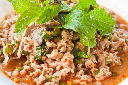 spicy minced pork salad photo