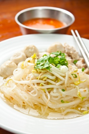 thai noodle soup: Skinny noodles soup with vegetables and meatball