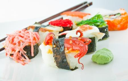Sushi on white plate photo