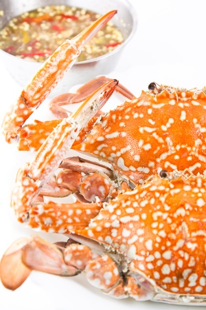 Steamed blue swimming crab with sauce Stock Photo - 13180695