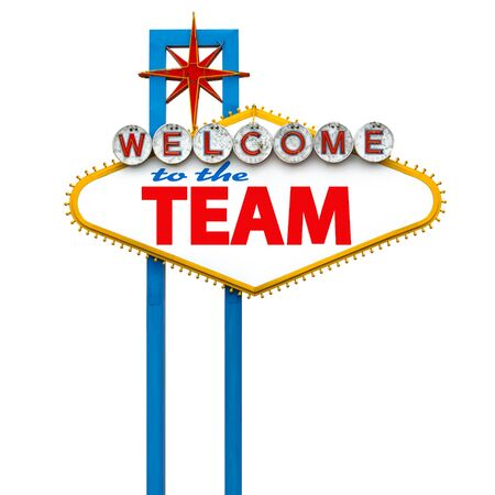 Welcome to the team on Las Vegas sign Banco de Imagens