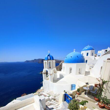 Typical view of Santorini, Greek island (Europe)