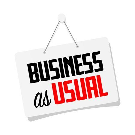 Business as usual on hanging door sign Vektoros illusztráció