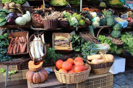 Fresh vegetable stall in a farmer's market