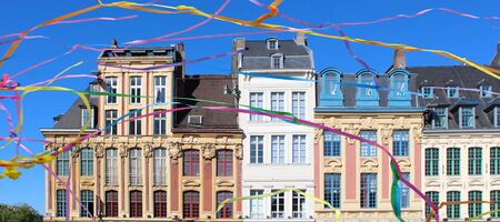 Lille in France, buildings on main square Stock Photo