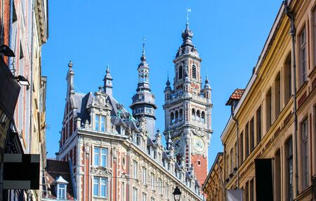 Belfry in Old Lille city, France Stock Photo