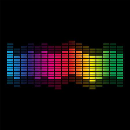 Rainbow colors sound wave on black background