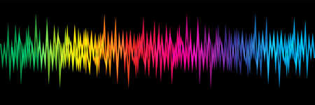 Rainbow colors sound wave on black background Vector Illustratie