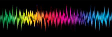 Rainbow colors sound wave on black background Ilustração Vetorial