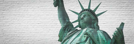 Statue of Liberty in New York on brick wall