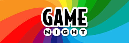 Game night on radial stripes background