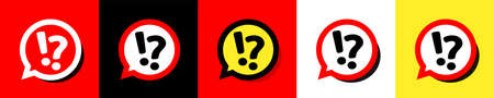 Question and exclamation marks on speech bubble