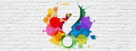 Question mark on colorful splashes and brick wall Banque d'images