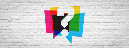 Question mark on brick wall banner