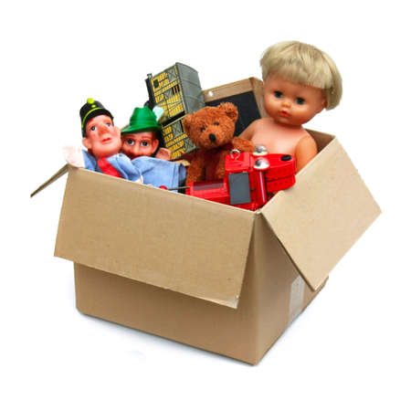 Various objects in cardboard box,