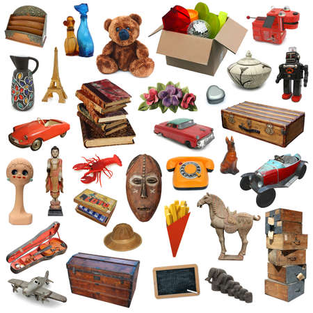 Various objects isolated on white background