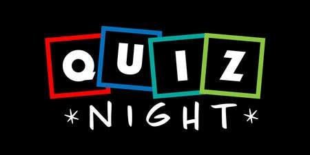 Quiz night on black background 矢量图像