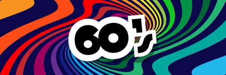 Sixties background with soft, wavy rainbow colored spirals