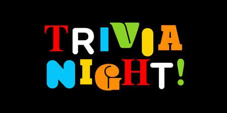 Trivia night typography on black background