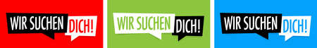 """Wir suchen Dich"": we need you in German language Ilustracje wektorowe"
