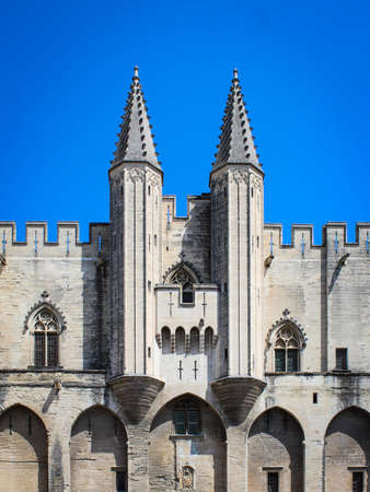 Avignon, France - July. 27, 2020: Palace of the Popes in Avignon, France