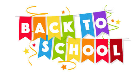 Back to school on colorful garlands