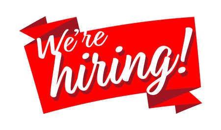 We are hiring on red ribbon Vettoriali