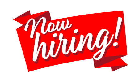 Now hiring on red ribbon Vettoriali