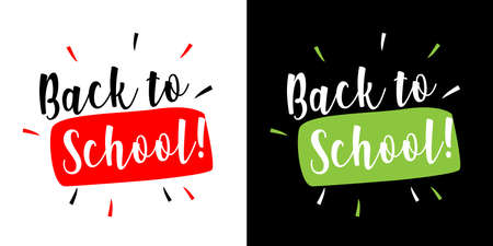 Back to school on black and white background