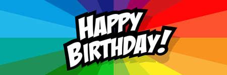 Happy birthday on radial stripes background