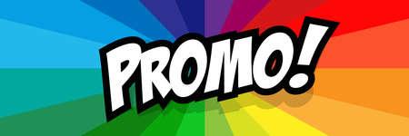 Promo on radial stripes background 矢量图像