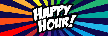 Happy hour on radial stripes background