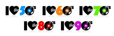 I love the fifties to nineties Vettoriali