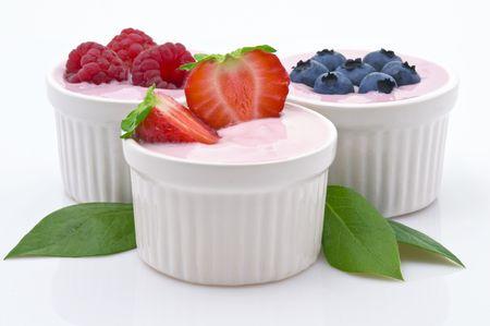fruit bowl: Yogurt and Freshness Fruit Stock Photo