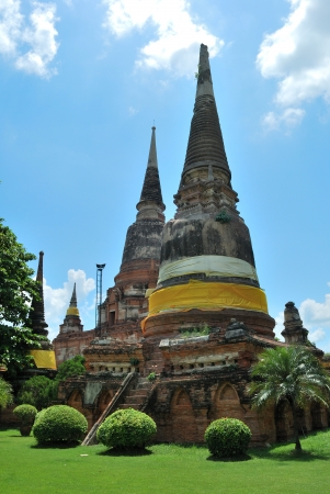 The Old Pagoda and grass with nice sky photo