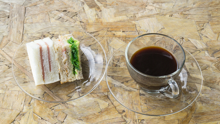 sanwich: black coffee on the glass with sanwich ham&cheese Stock Photo