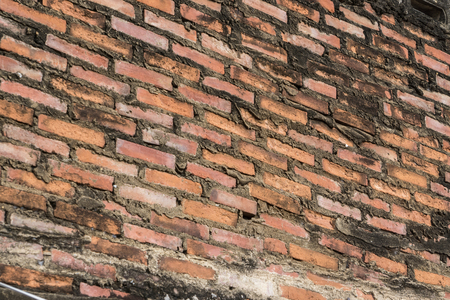 ancient old brick wall red grunge surface with weathered cement texture background., may use to interior design