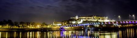 Petrovaradin fortress, Danube river and Rainbow bridge at night, Novi Sad,Serbia Stok Fotoğraf