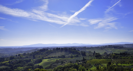 Tuscany landscape, view from San Gimignano fortress
