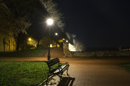 Bench in a park at night under city lights