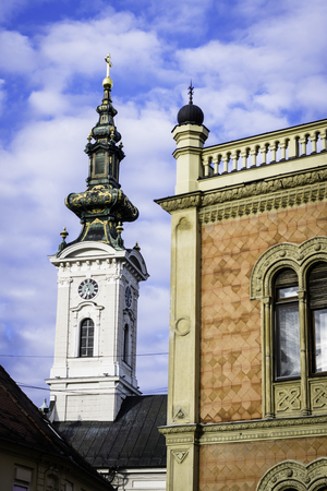 Architecture details of Bishops palace and Saint Georges cathedral in city of Novi Sad Serbia