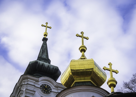 Three golden church crosses on an orthodox church, Russian style