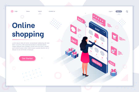 Sale. E-commerce buyer. Modern flat design isometric illustration of Online Shopping. E-commerce concept. Can be used for website and mobile website or Landing page. Easy to edit and customize. Illustration