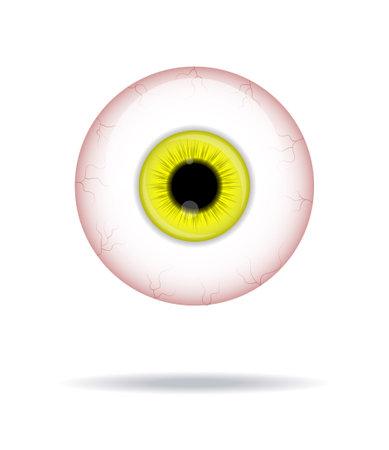 Realistic human eyeball. Eyeball with yellow iris photo realistic vector illustration