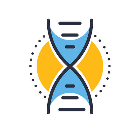 DNA icon. DNA icon isolated on white background. Design elements, colored. Element for mobile concepts and web apps. Flat style vector illustration. Иллюстрация