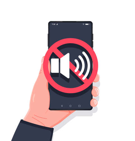 Hand holding smartphone sound off. No sound sign for mobile phone. Volume off or mute mode sign for smartphone. Please silence your mobile phone, smartphone silence zone. Vector flat style illutration