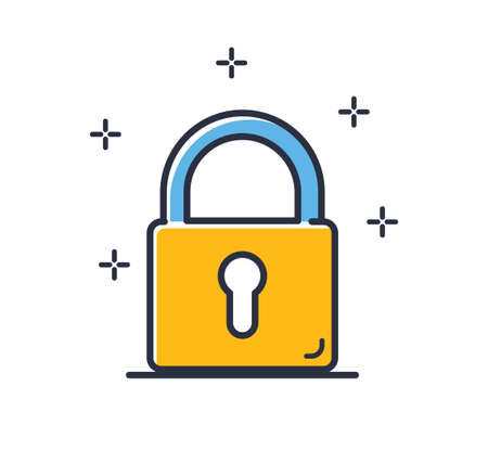 Lock icon. Information protection icon isolated on white background. Design elements colored. Can be used for mobile concepts and web applications, social networks. Flat style vector illustration. Vectores
