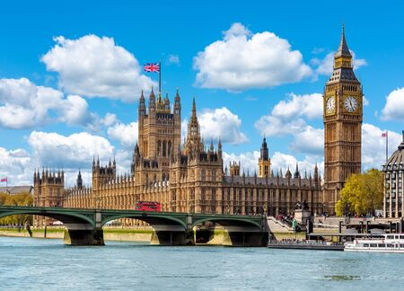 Big Ben with Houses of Parliament and Westminster bridge, London, UK Stock Photo