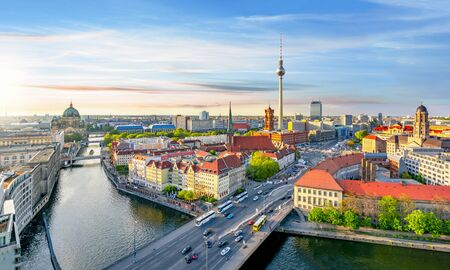 Berlin cityscape with Berlin cathedral and Television tower, Germany Imagens